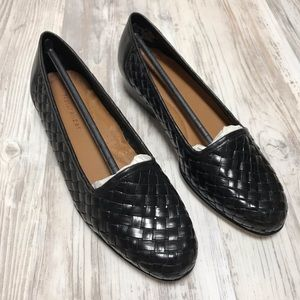 NEW Naturalizer Black Leather Woven Loafers 5.5M